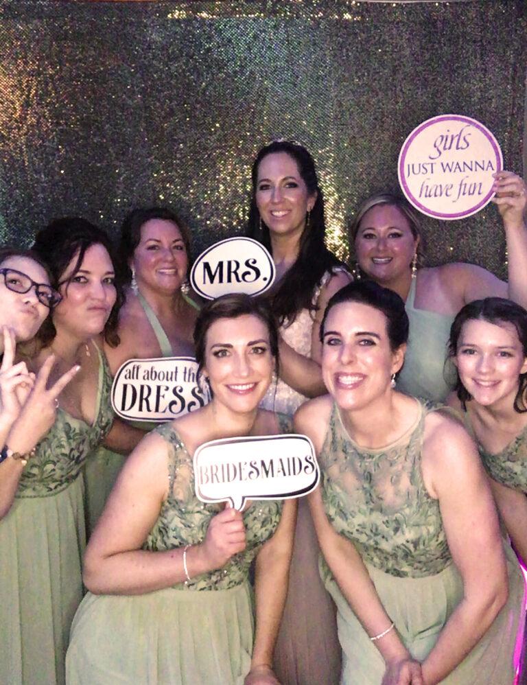 wedding bride bridesmaid bridesmaids dressed smiles 1